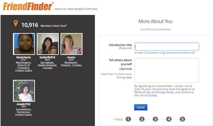 FriendFinder registration