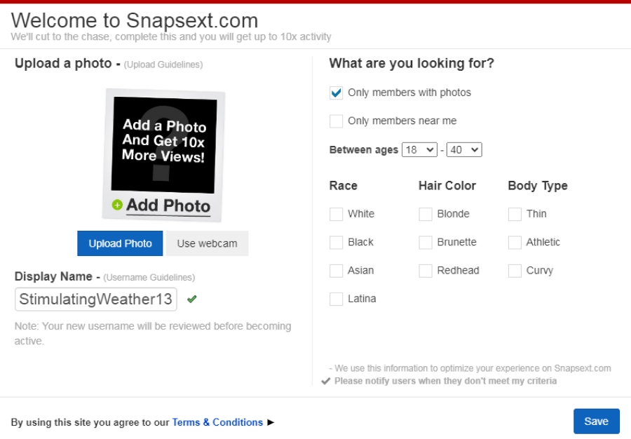 SnapSext registration